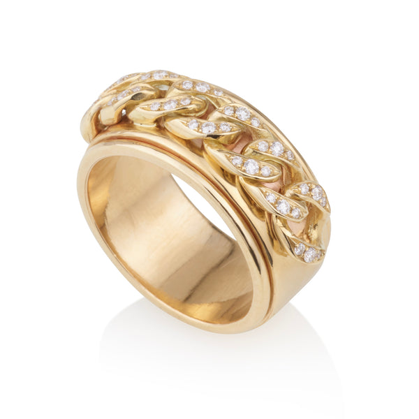 Elegant gourmette yellow gold ring with with diamonds