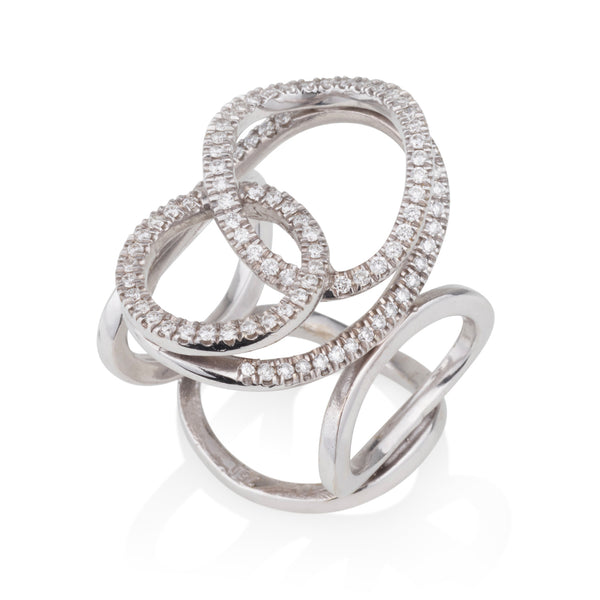 Merging circles diamonds pave ring