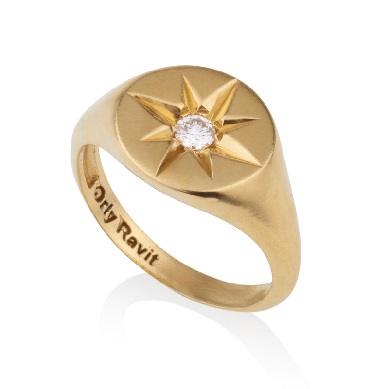 Signature oval shaped star signet ring