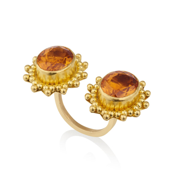 Giza Old World style open twin imperial citrine ring