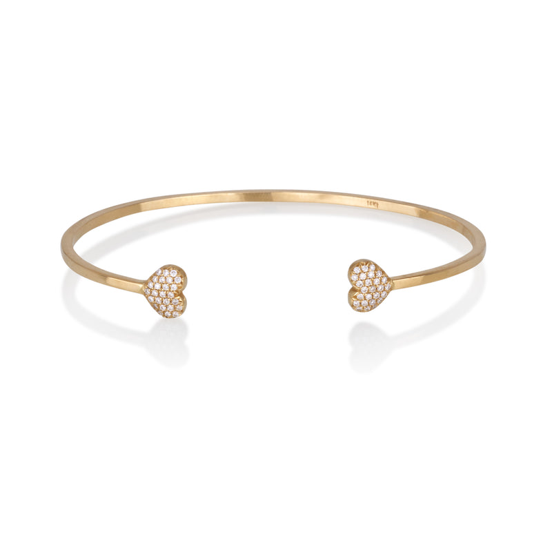 Diamond setted two hearts bangle