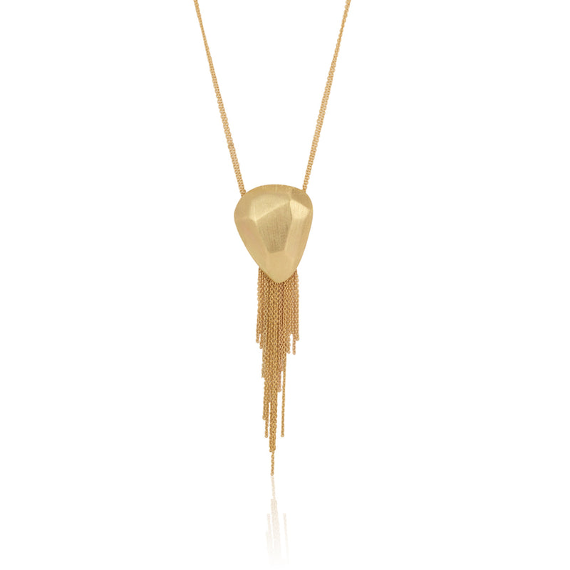 Pebbles inspired yellow gold necklace with fringes