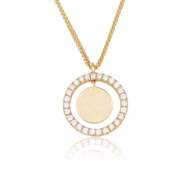 Gold disc and diamond halo pendant