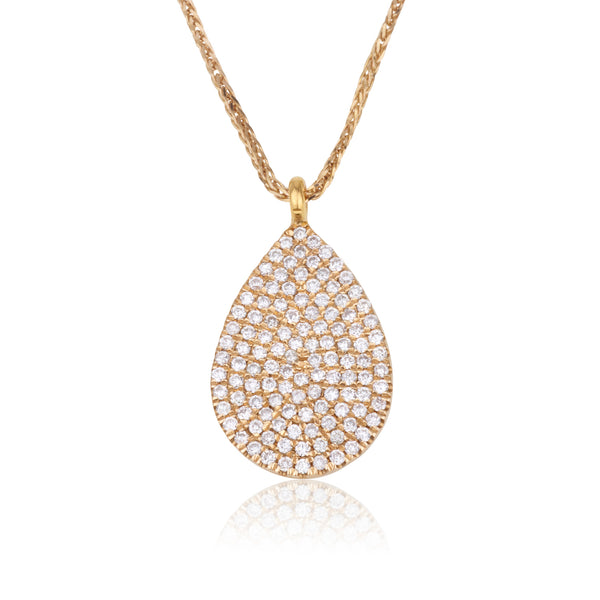 Dainty diamond pave pear shape pendant