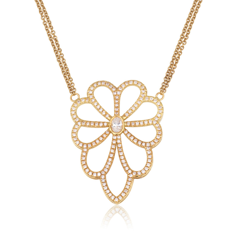 Daisy flower gold and diamonds necklace