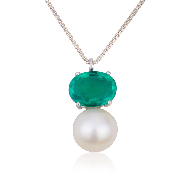 Emerald doublet and a pearl necklace
