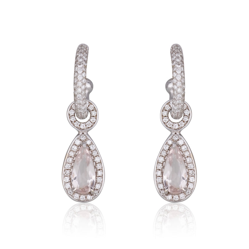 Royal majestic hanging earring with diamonds and Morganite teardrop shaped drops