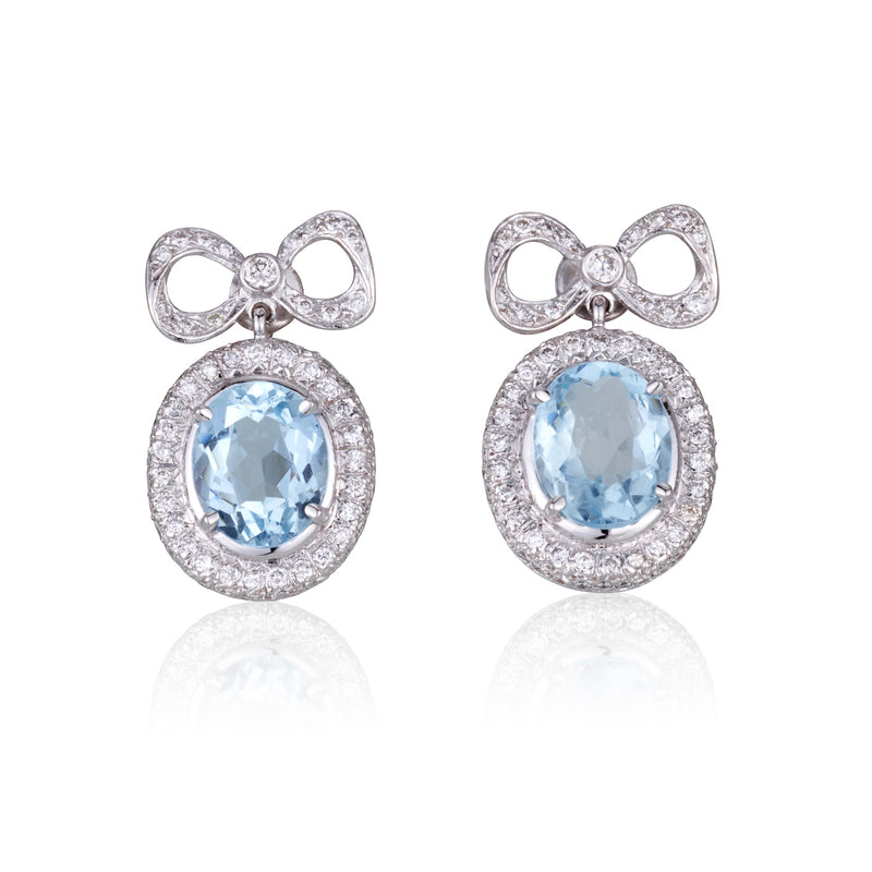 Victorian ribbon earrings with diamonds and Aquamarine
