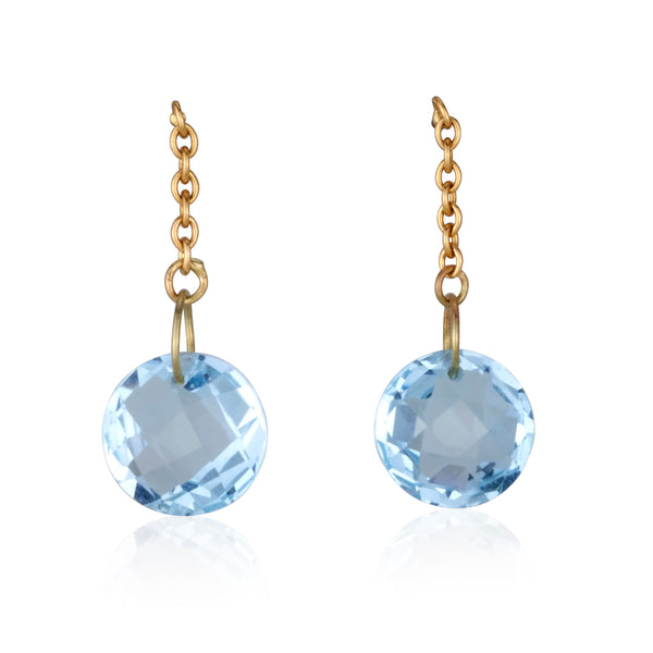 String earrings with round blue Topaz briolettes