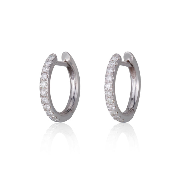 small diamonds hoop earrings