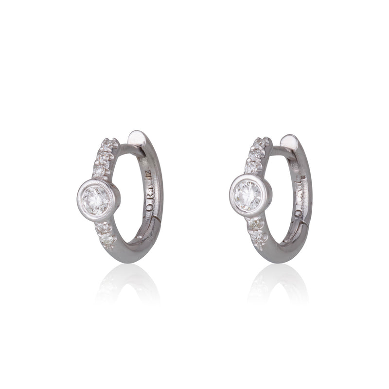 Dainty decadent  hoop earrings with diamonds
