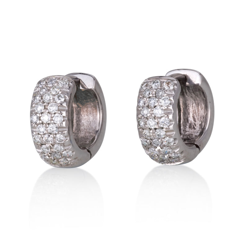 Impressive hoop earrings with three rows diamond pave