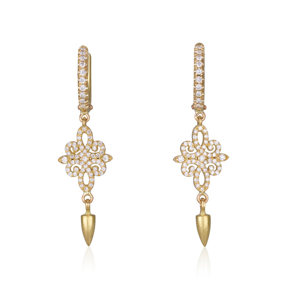 Decorative diamond pave  dangling earrings