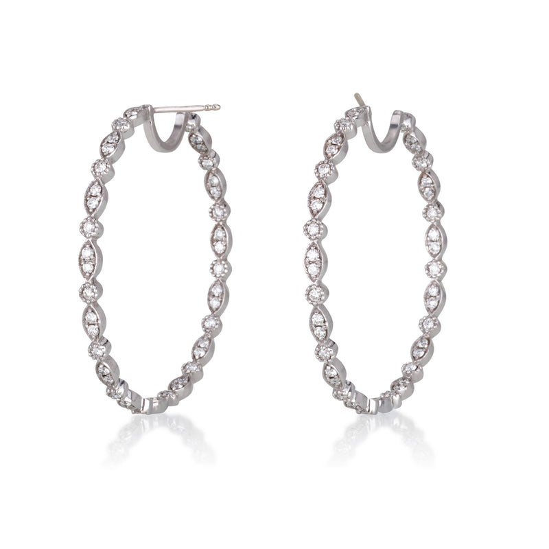 Diamond adorned hoop earrings