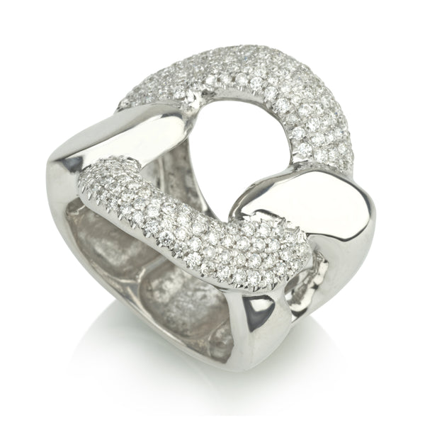 Gourmet solid gold and diamond pave statement ring