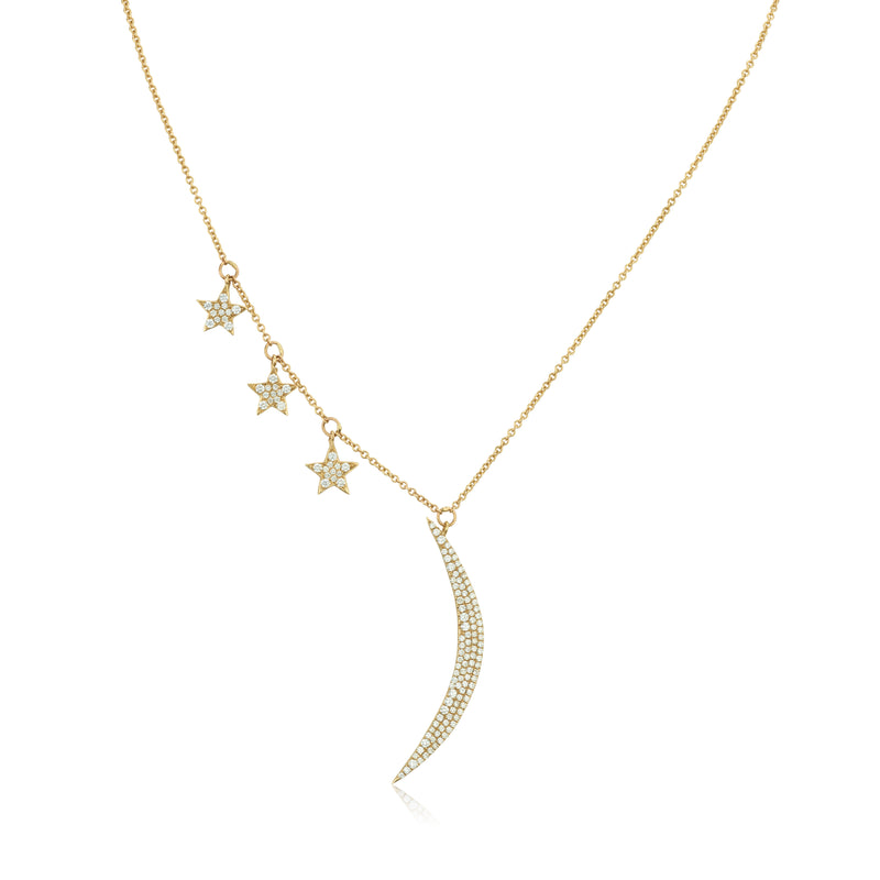 Moon and Stars diamond pave necklace