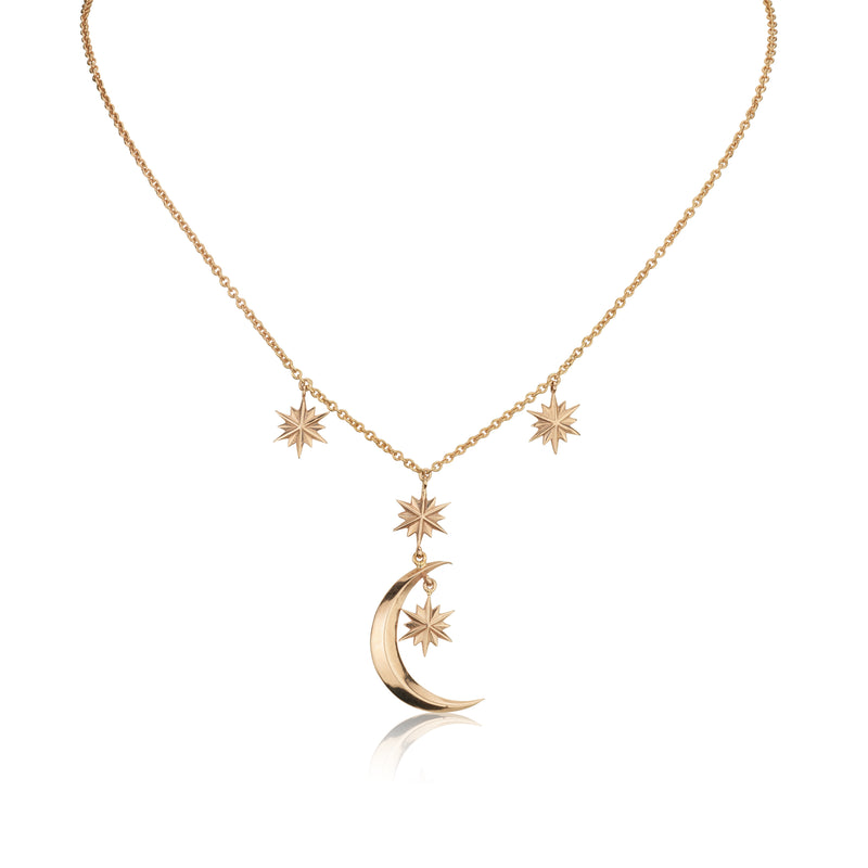 Moon and Stars rose gold necklace