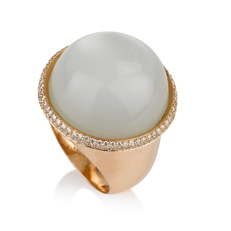 Rose gold round statement ring with Moonstone and diamond pave