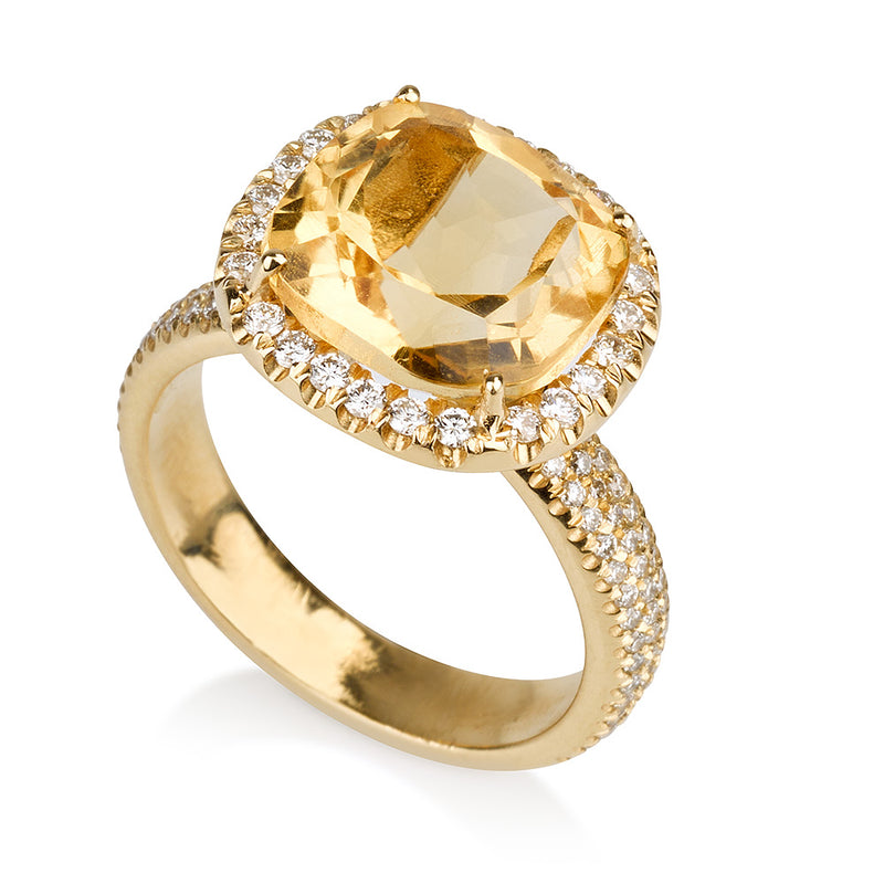 Spectrum | Cushion cut Citrine solitaire ring with diamonds
