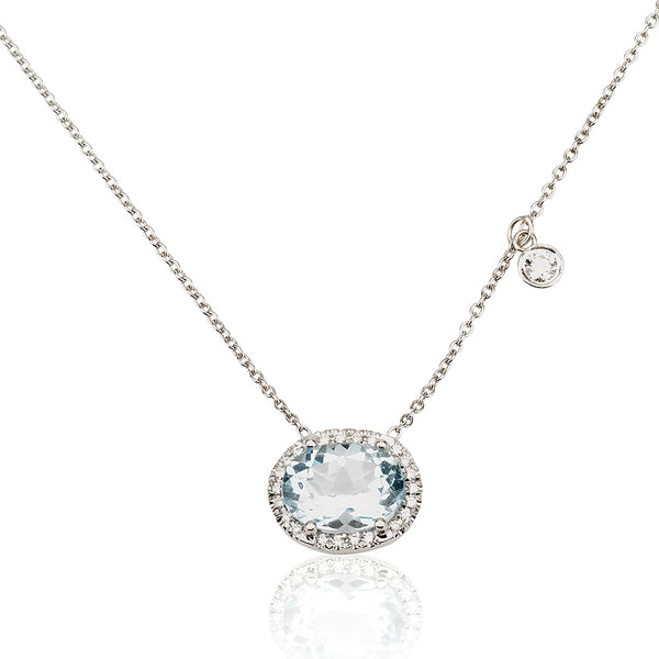A dazzling oval Aquamarine and diamond halo necklace
