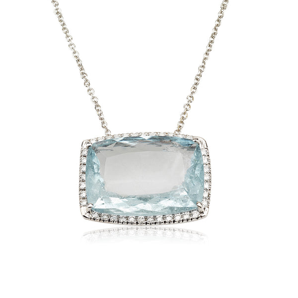A dazzling rectangle Aquamarine and diamond halo necklace