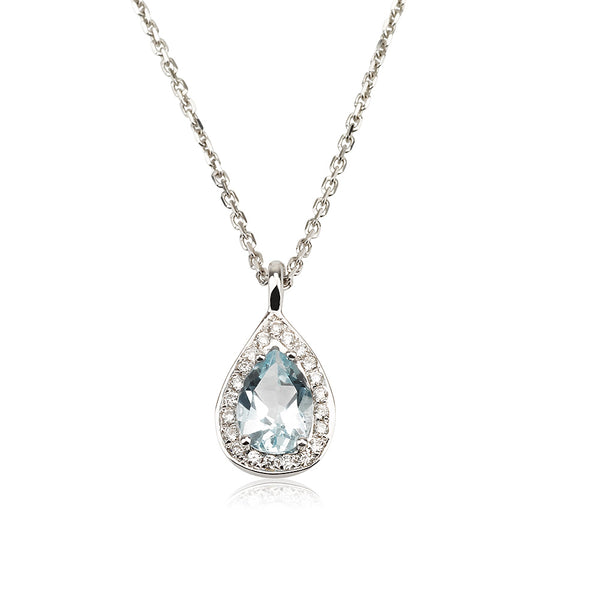 A dazzling pear shaped Aquamarine and diamond halo necklace