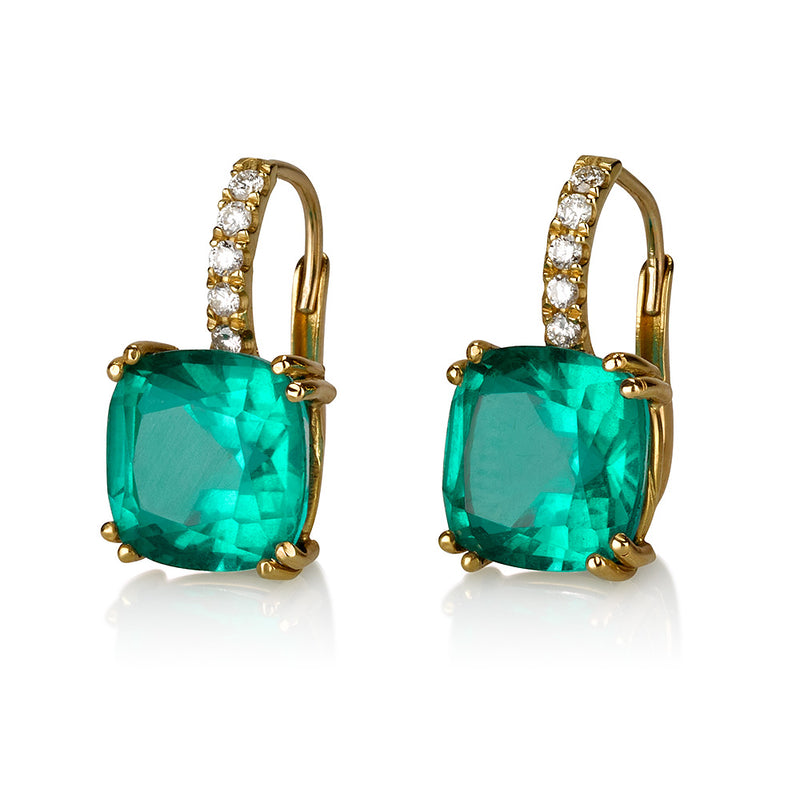 Royal Studded  diamond earrings with cushion cut green quartz