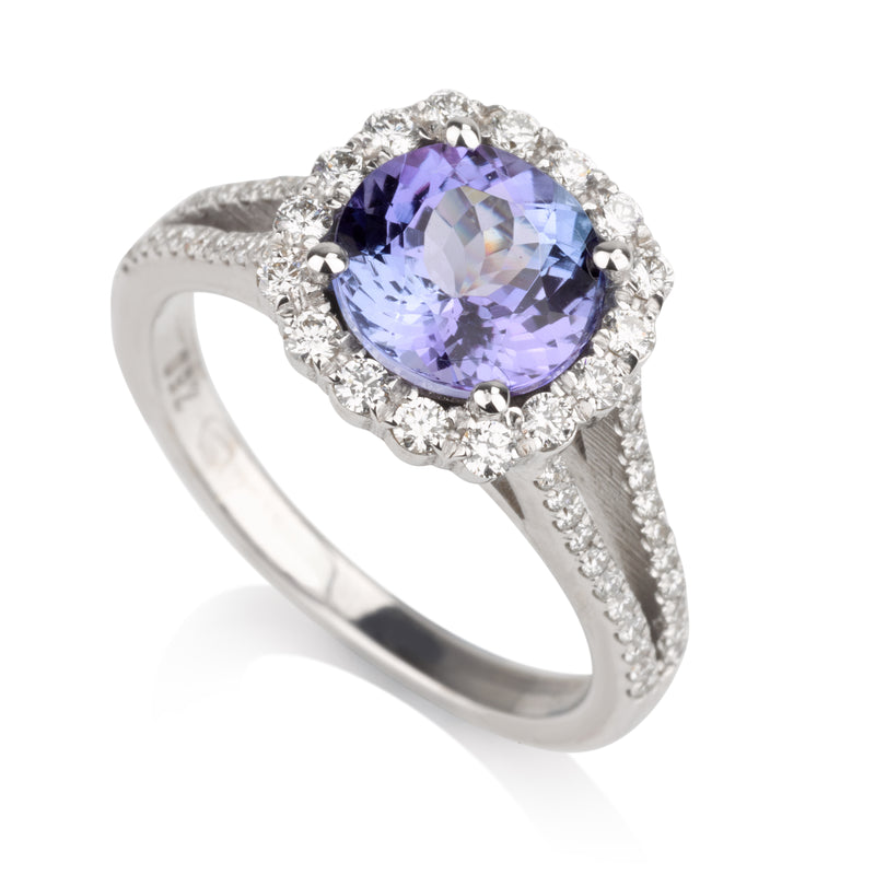 Opulent split shank engagement ring with Tanzanite