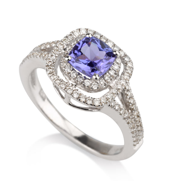 Cushion double diamond halo engagement ring with Tanzanite
