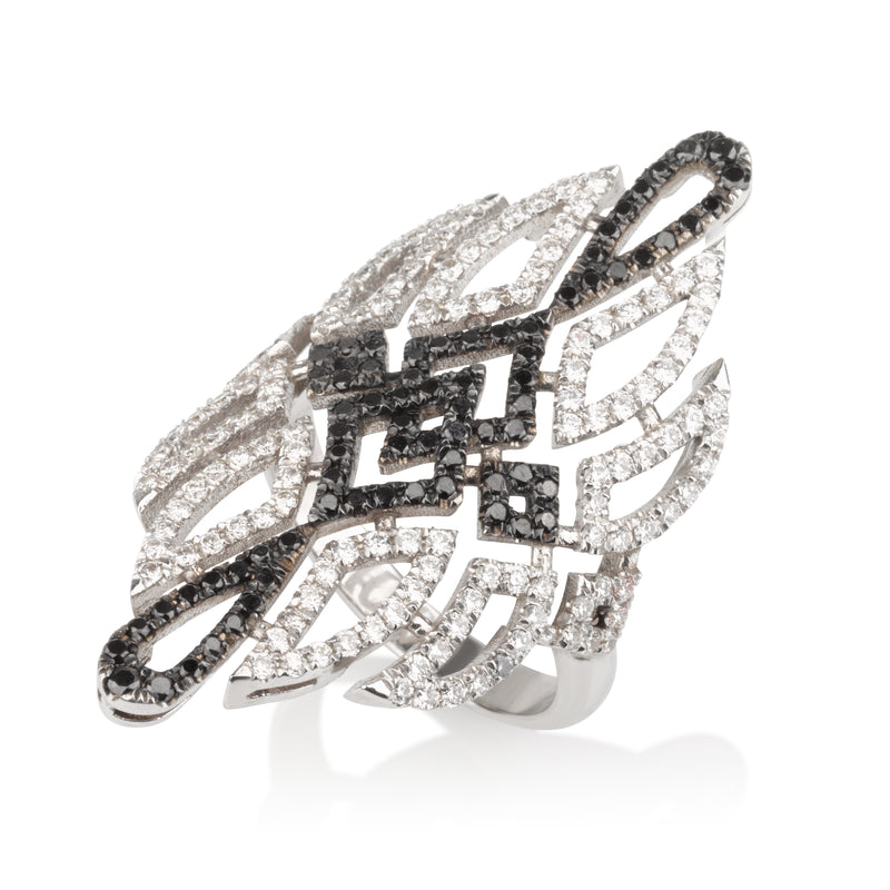 Deco glam elongated diamond pave ring