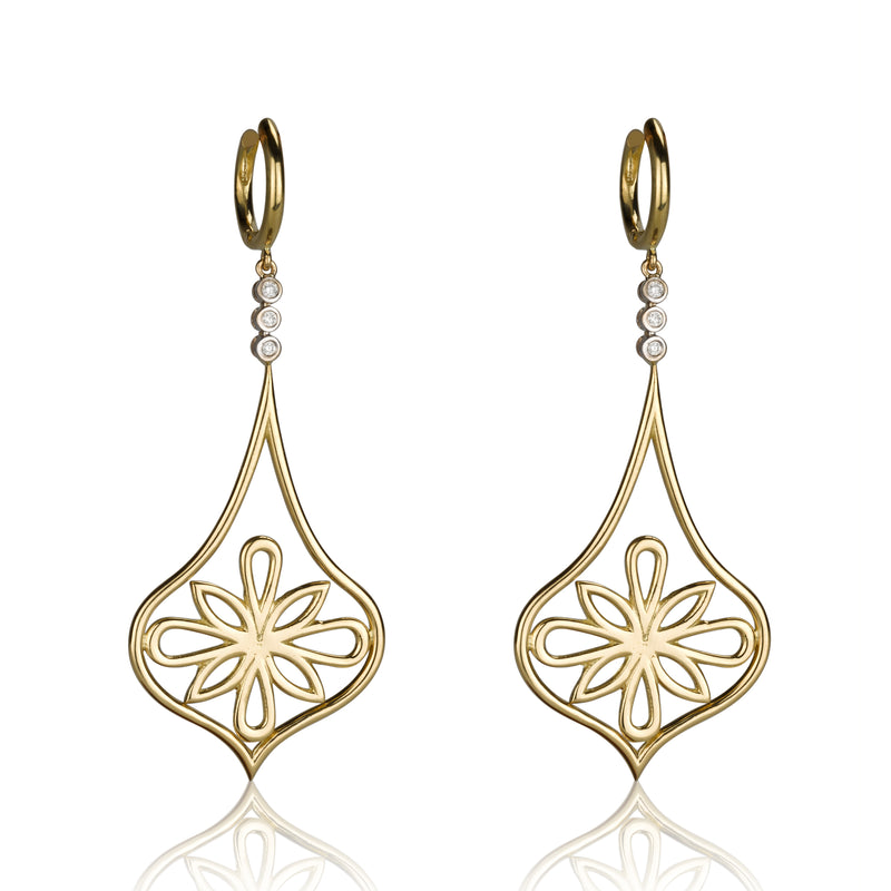 Arabesque long dangling gold & diamond earrings