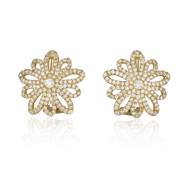 Fern | Decorative diamond pave stud earrings