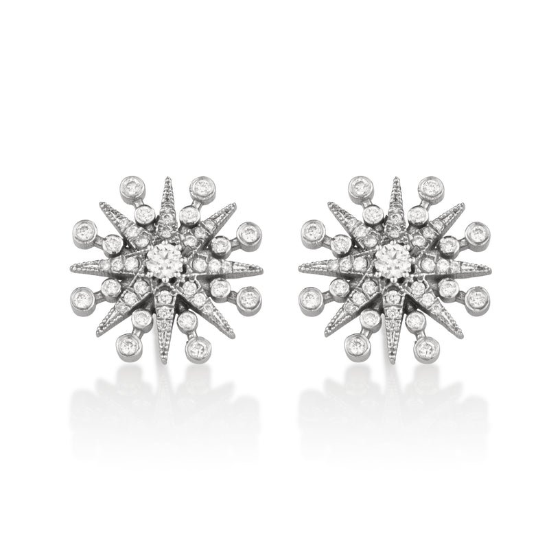 Star diamond pave stud  earrings