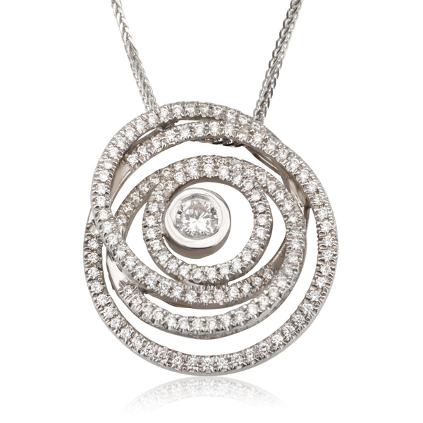 Diamonds pave swirl necklace