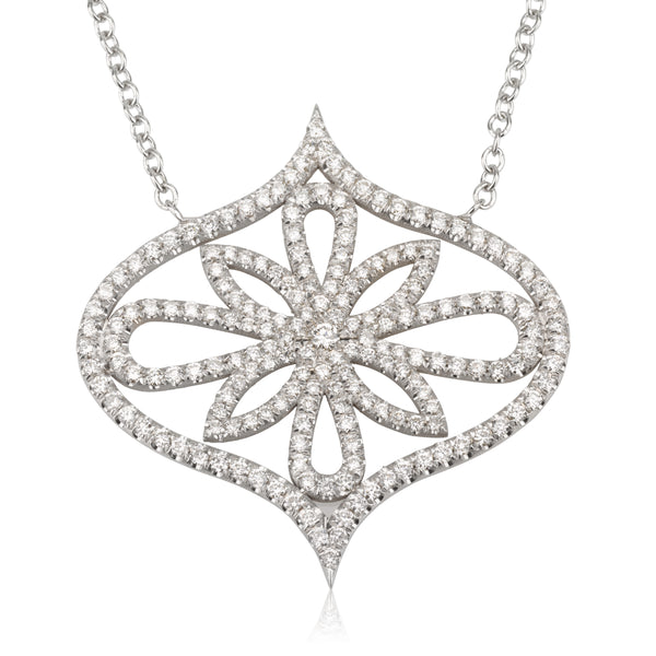 Arabesque diamond pave necklace yellow gold