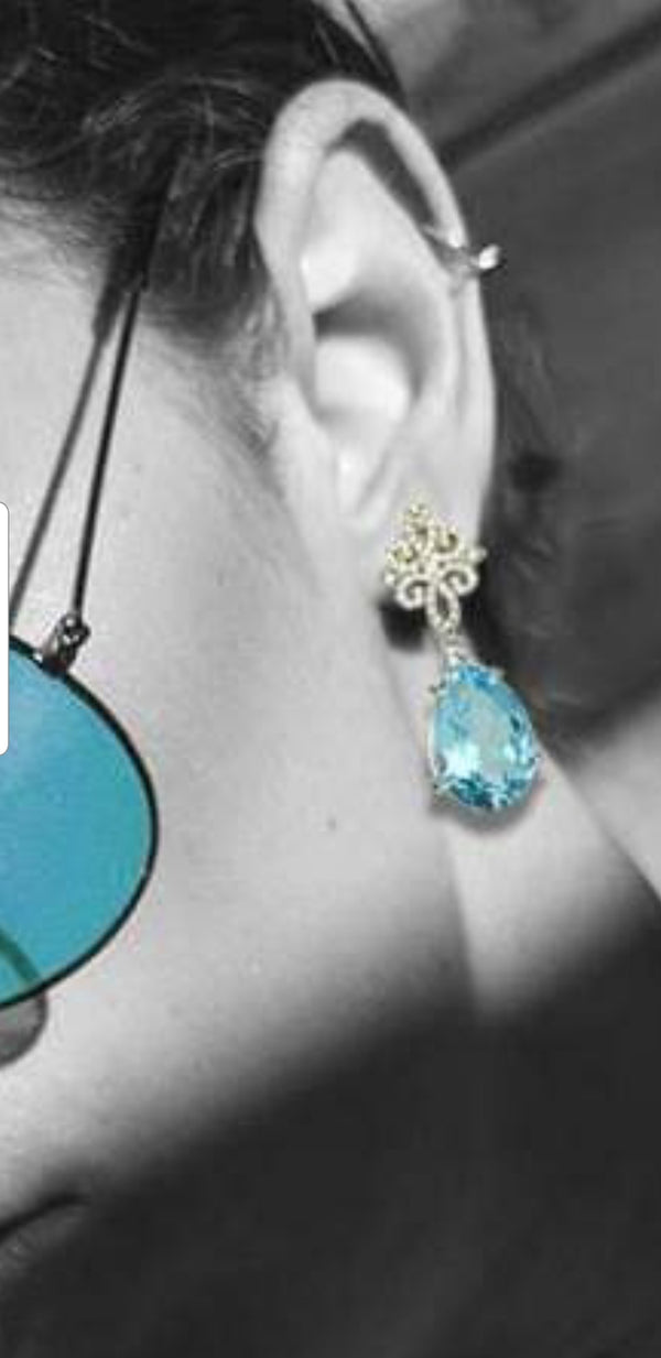 Elza | Decorative stud earrings with Blue Topaz drops