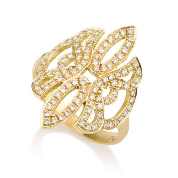 Gold embroidery dream ring with diamond pave