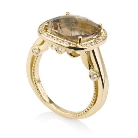 Classic cushion cut Smoky Quartz ring with a decorative band and diamonds