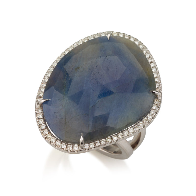 Spectrum | Asymmetric raw blue Sapphire and diamonds statement ring