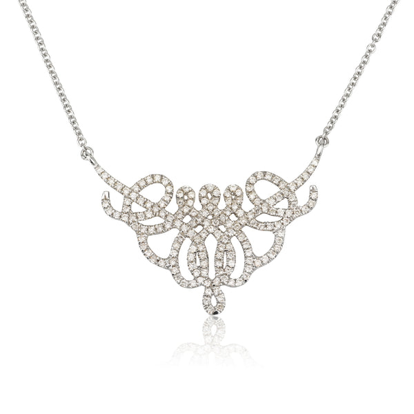 Venezia Embroidered romantic diamonds pave necklace