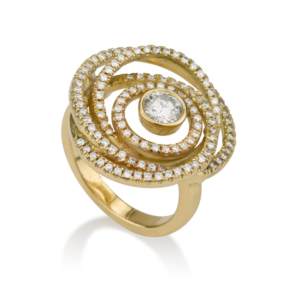 Diamonds pave swirl ring