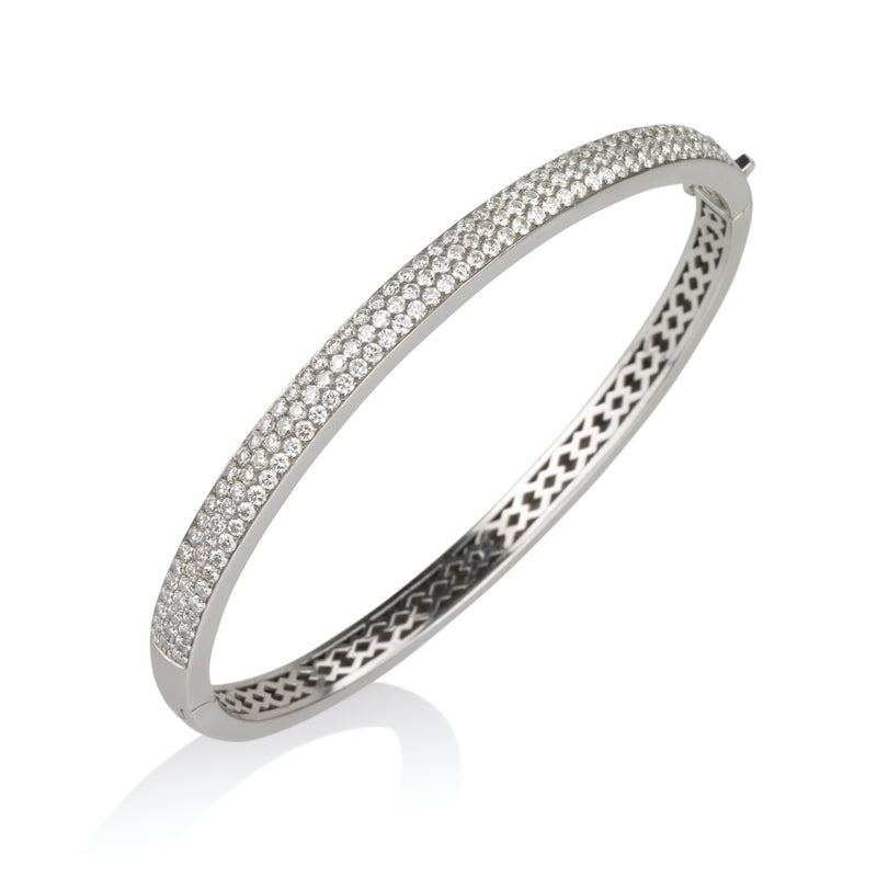 Ravishing three diamond pave row bangle