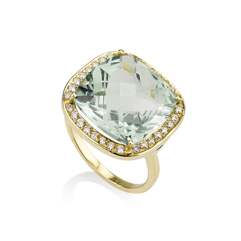 Spectrum | Elegant cushion cut green amethyst cocktail ring