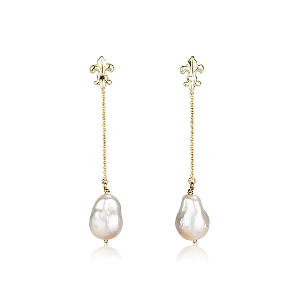 Pearls | Fleur De Lis earrings with a pearl drop.