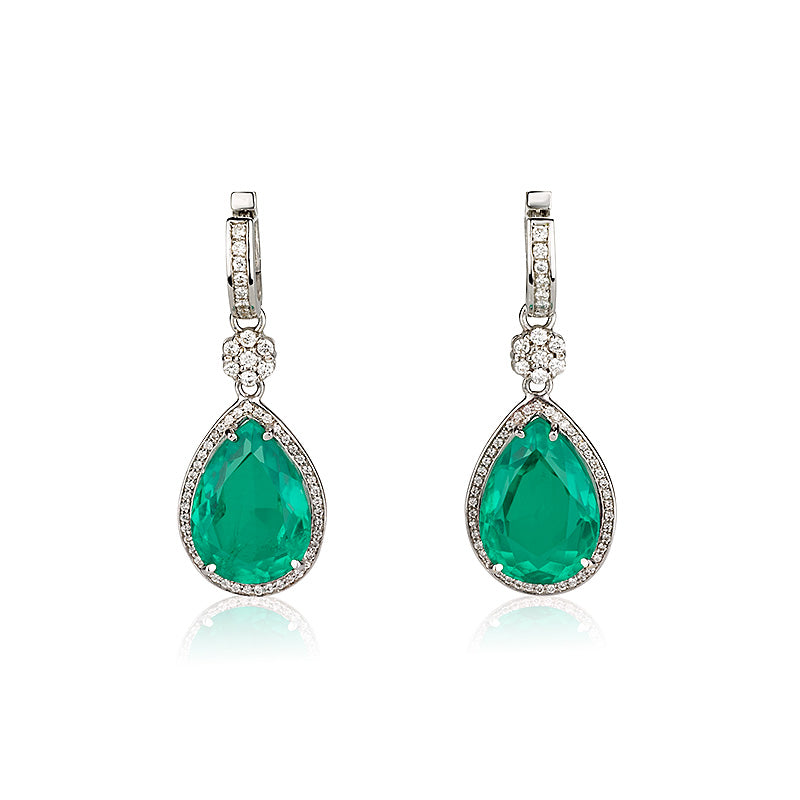 Green Quartz and diamonds dangling earrings