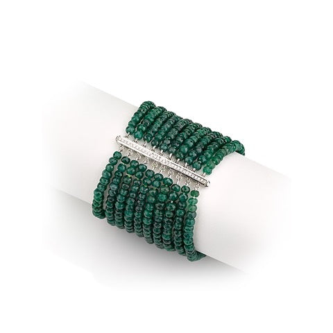 Diamond bar bracelet with Emerald beads