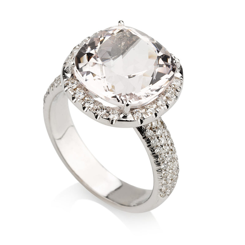 Stunning cushion cut solitaire Morganite ring with diamond pave