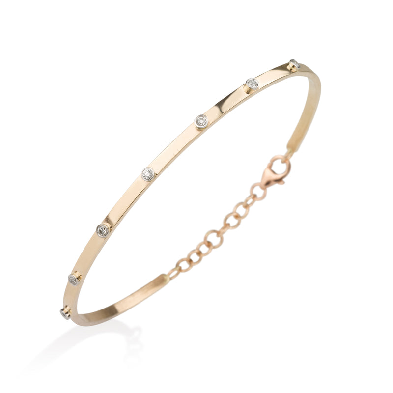 Romantic gold bangle with diamonds bazzles
