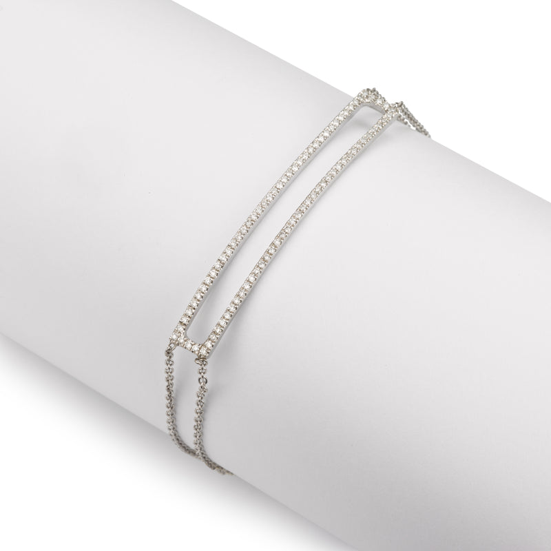 Rectangle diamond bar bracelet