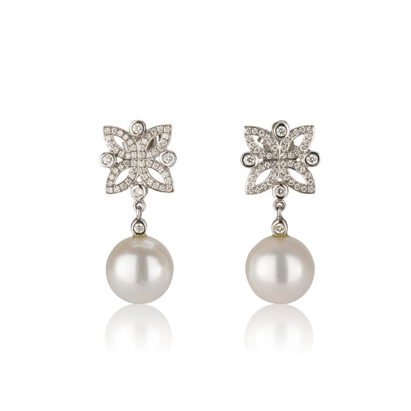Dangling  earrings with Iris and pearl drops